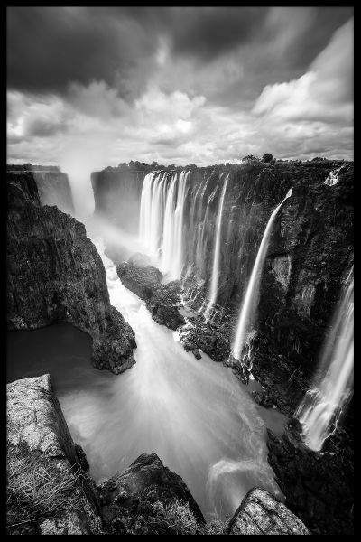 Victoria Falls Black & White Juliste
