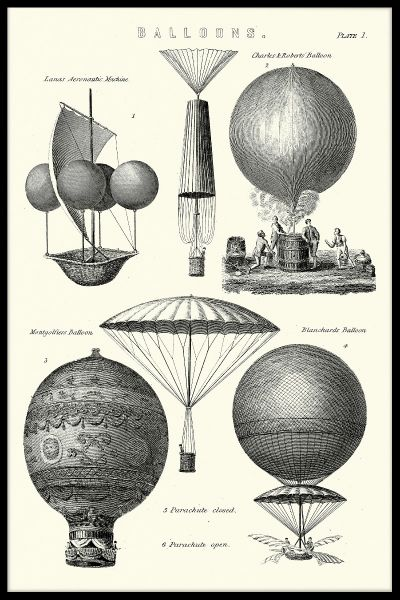 Vintage Hot Air Balloon Types Juliste