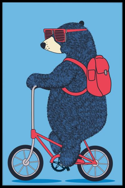 Bear On Bicycle Juliste