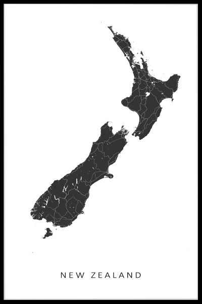 New Zealand Map Juliste