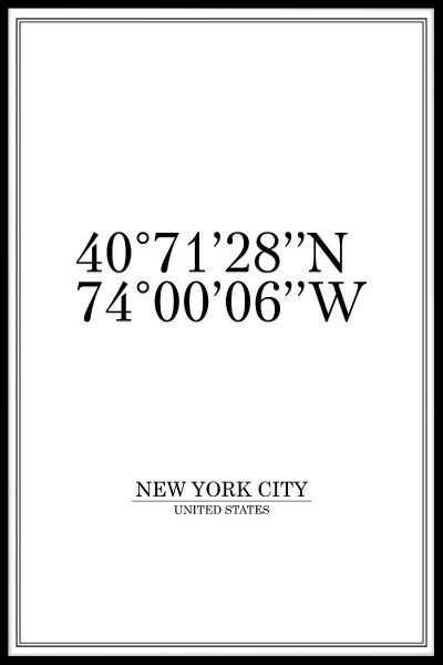New York City Coordinates Juliste