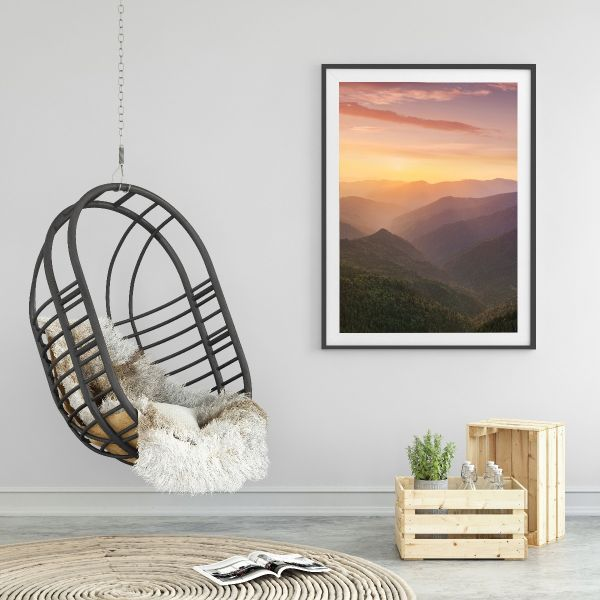 Red Sunset Mountains Posteri