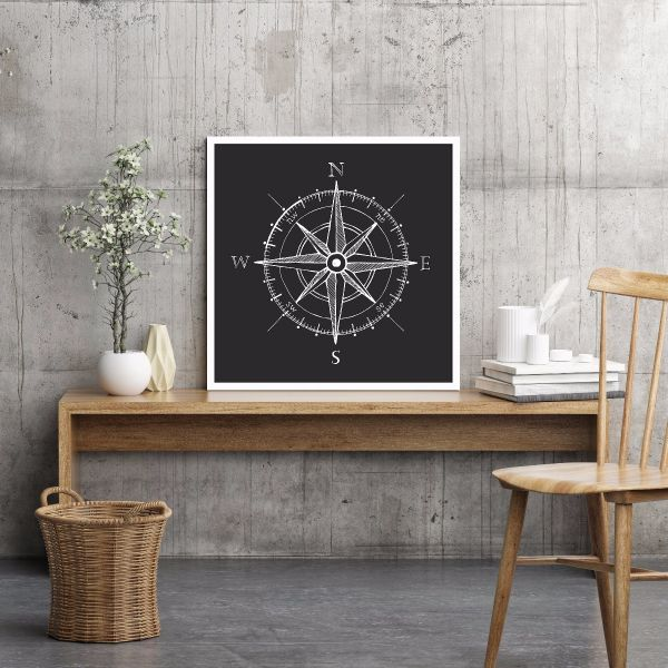 Black and White Compass Printti