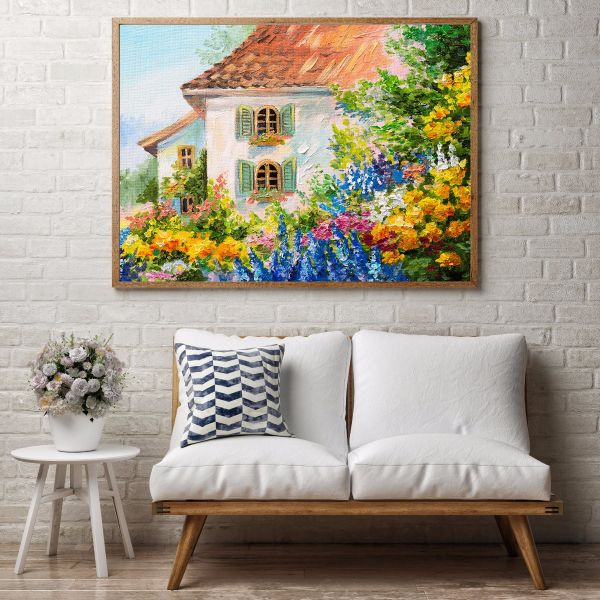 Flower House Oil Painting Printti