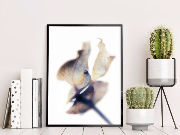 Abstract Blue Brown Toned Leaf Printti