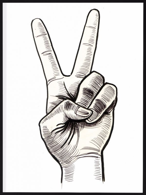Victory Hand Sign Illustration Juliste