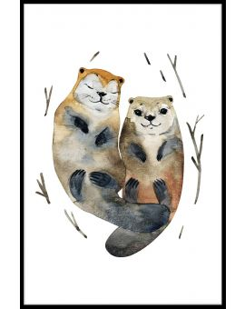 Otter Love Watercolor Juliste
