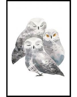 Owl Family Watercolor Juliste