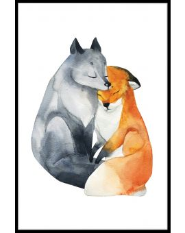 Fox Love Watercolor Juliste