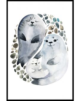 Seal Family Watercolor Juliste