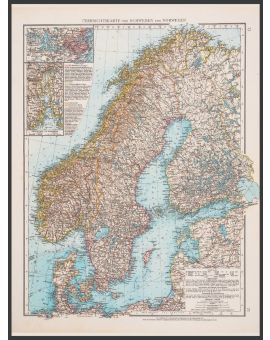 Scandinavia Map 1896 Juliste