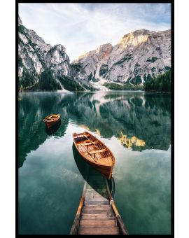 Dolomites Lake Wooden Boats Juliste