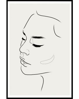 Line Art Female Face Juliste