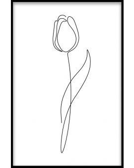 Line Art Flower N02 Juliste