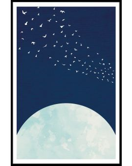 Moon Flock of Birds Juliste