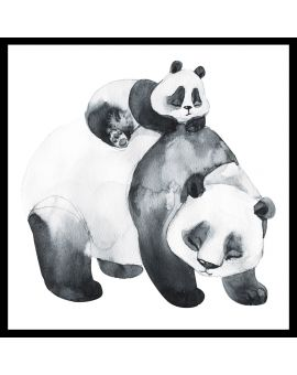 Panda Family Watercolor Juliste