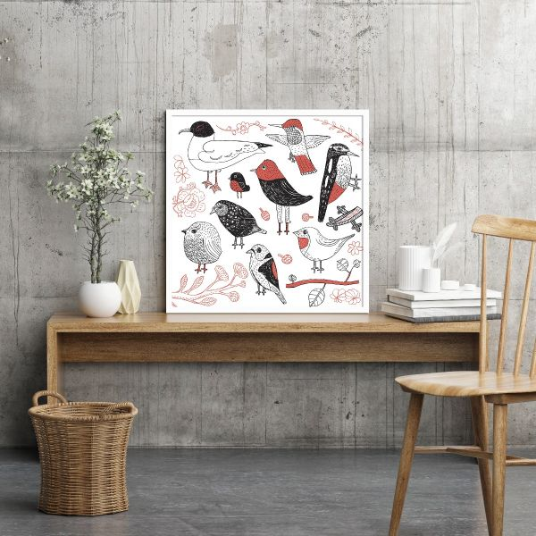 Hand Drawn Birds Posteri