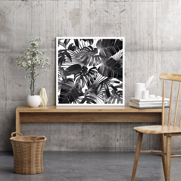 Palm Leaves Black and White Printti