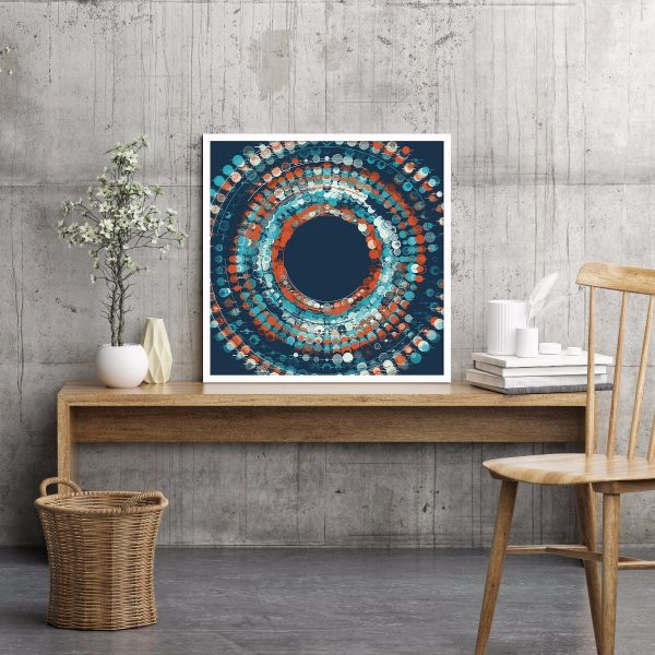 Abstract Dark Blue Circle Printti