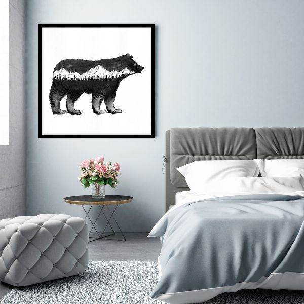 Bear and Mountains Illustration Printti