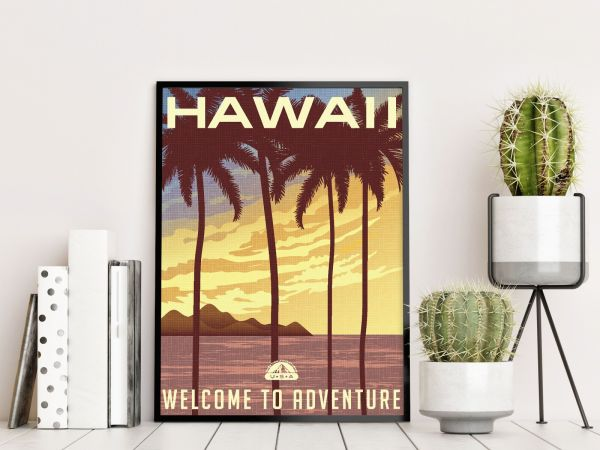 Hawaii State Illustration Printti