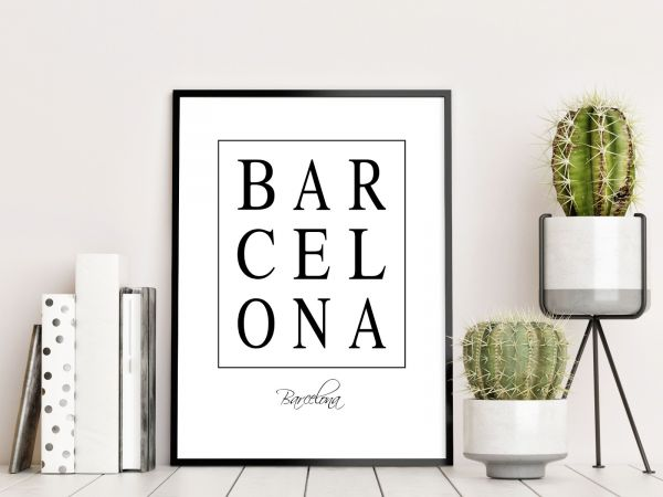 Barcelona Box Text Printti
