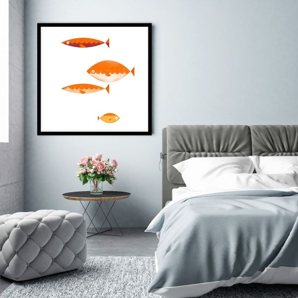 Four Fish Graphical Illustration Printti