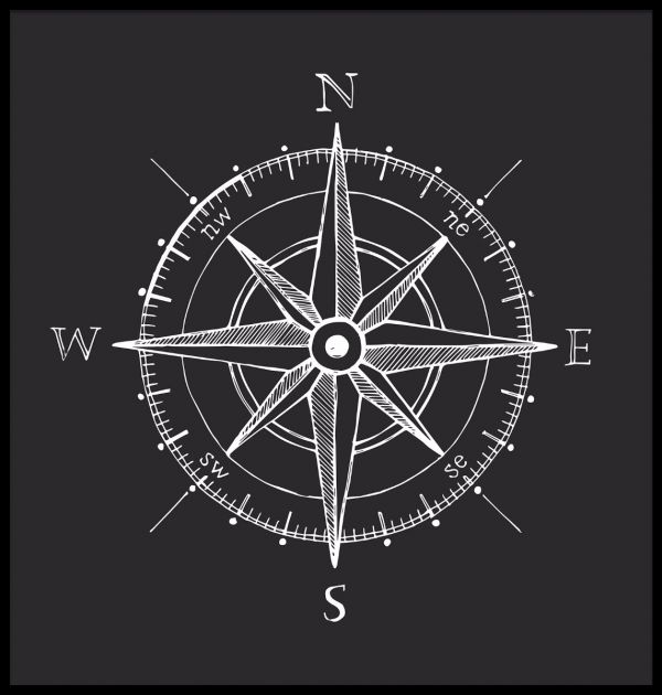Black and White Compass Juliste