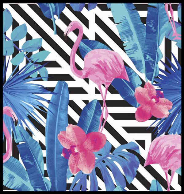 Pink Flamingos and Orchid Juliste