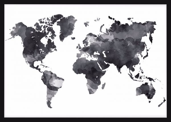 World Map Black Ink Juliste