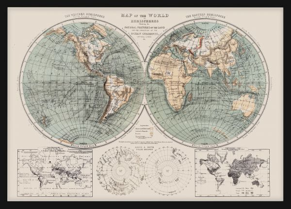 Map of the World 1869 Juliste