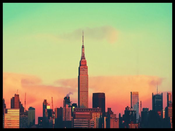 New York City Skyline Sunset Juliste