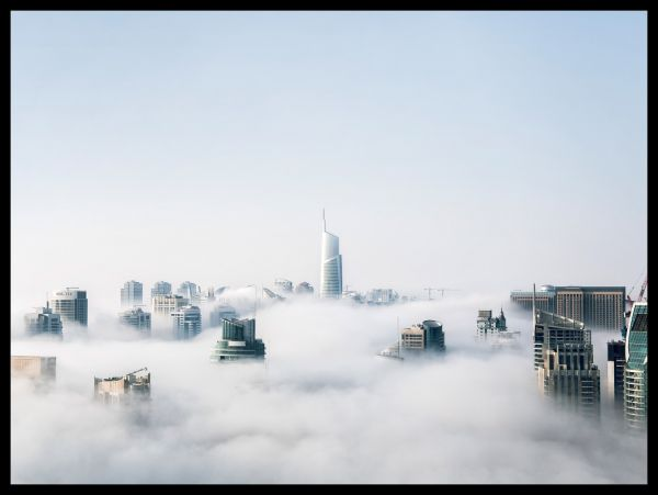 Cityscape Over Clouds Juliste