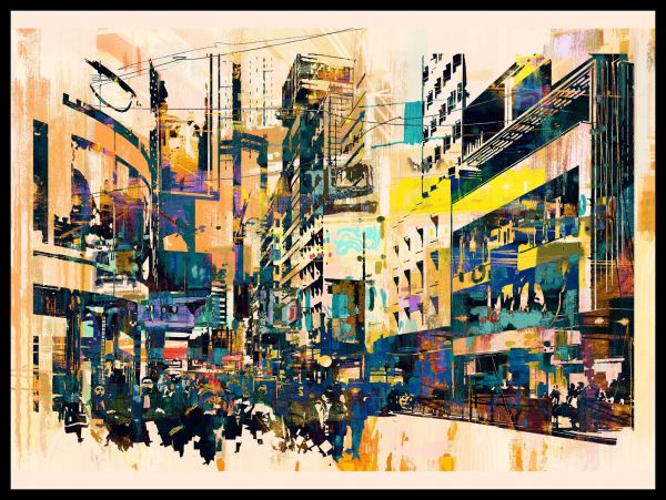 City Painting Abstract Juliste