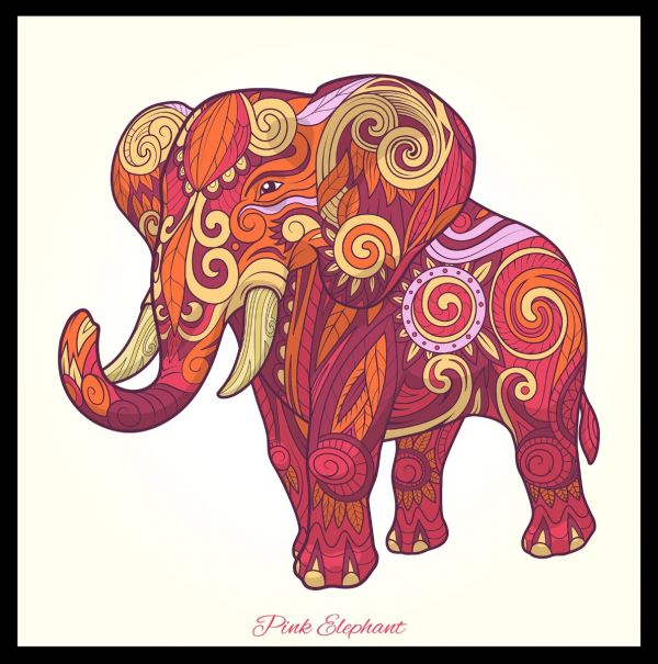 Elephant Pink Illustration Juliste